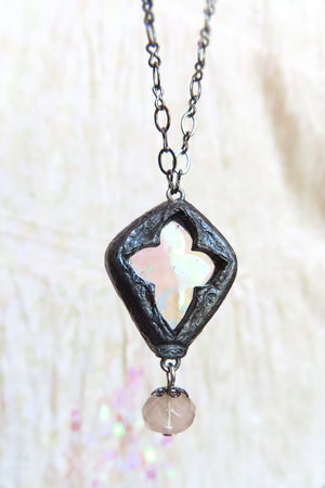 The Victoria Quatrefoil ~ Iridescent Stained Glass Crosslet Window Amulet