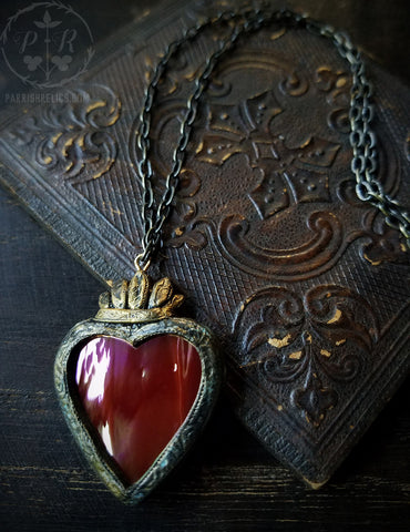 Iridescent Sacred Heart ~ Stained Glass Amulet