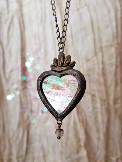 Gloriana Sacred Heart ~ Iridescent Stained Glass Amulet