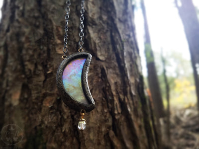 Goddess Iris Moon ~ Iridescent Rainbow Stained Glass Amulet