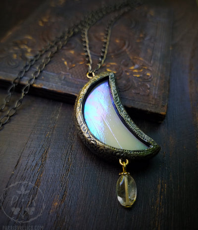 Citrine Iridescent Luna Crescent ~ Stained Glass Amulet