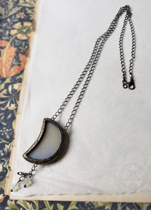 a Summer Moon ~ Iridescent Stained Glass Amulet