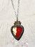 Iridescent Stained Glass Sacred Heart Amulet