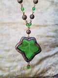 Medieval Ivy Leaf ~ Etched Stained Glass Amulet