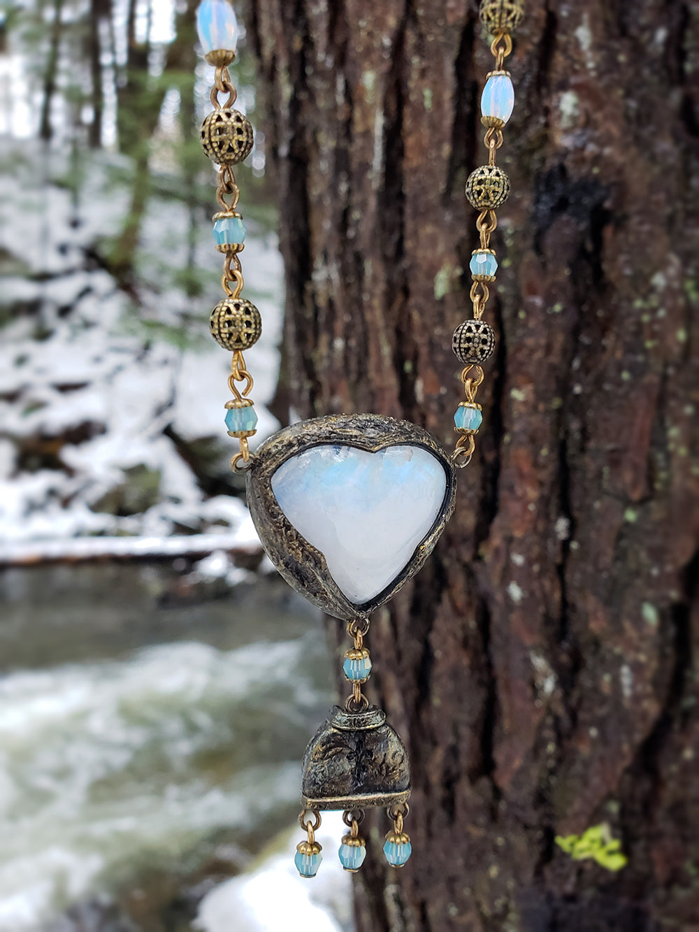 Lady of the Lake ~ Rainbow Moonstone Amulet