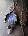 Ygrayne's Window ~ Iridescent Stained Glass Gothic Arch Amulet