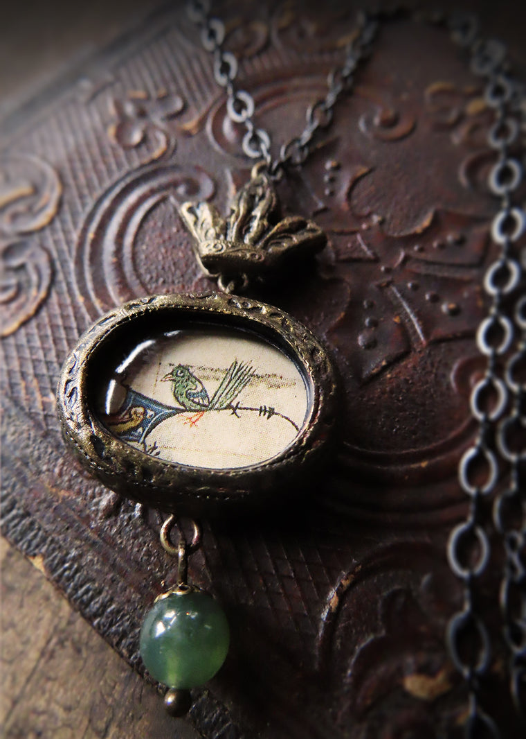 Medieval Manuscript Little Green Bird ~ Crowned Pictorial Shrine Amulet