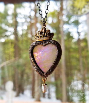 luceo non uro ~ Iridescent Stained Glass Sacred Heart Amulet