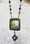 Medieval Manuscript Hare Pictorial Amulet with Moonstone Clover Cross
