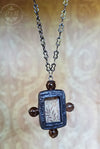 Morris Crosslet ~ Stained Glass & Smoky Quartz Pictorial Amulet