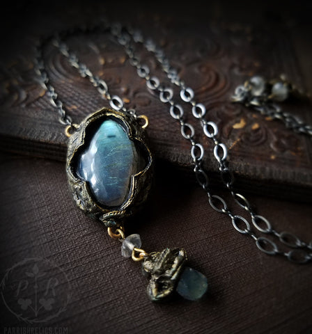 And Niamh calling Away, come away ~ Labradorite Quatrefoil Amulet