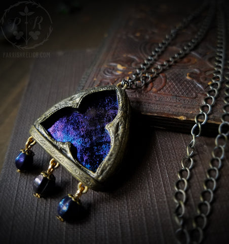 Nyx Trefoil ~ Iridescent Stained Glass Amulet