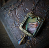 Ophelia ~ Iridescent Glass Gothic Arch Pictorial Shrine Amulet