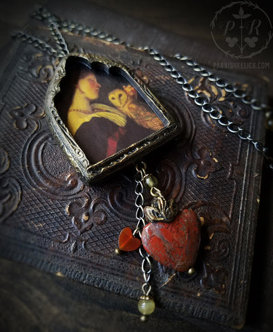 The Owl ~ Sacred Heart Gothic Arch Pictorial Shrine Amulet