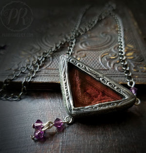 Thistle & Swarovski ~ Stained Glass Amulet