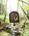 Pandora's Box Gothic Arch ~ J W Waterhouse Pictorial Shrine Amulet ~ Quartz Crystal