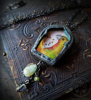 The Parrot ~ Iridescent Glass Gothic Arch Pictorial Shrine Amulet