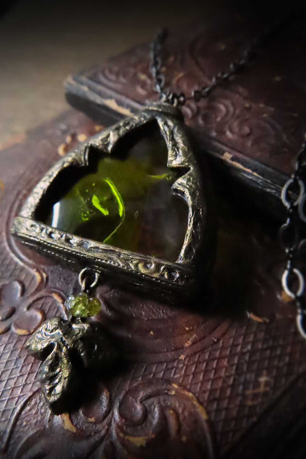 Excelsior Arch Window Stained Glass Amulet with Peridot