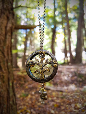 Isolde ~ Stained Glass Floriated Ornament Amulet Necklace