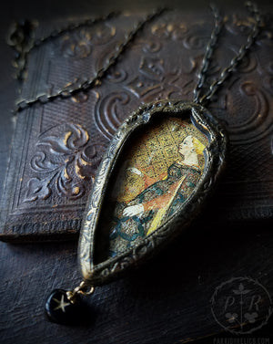 Queen of Cups ~ Gothic Arch Pictorial Shrine Amulet