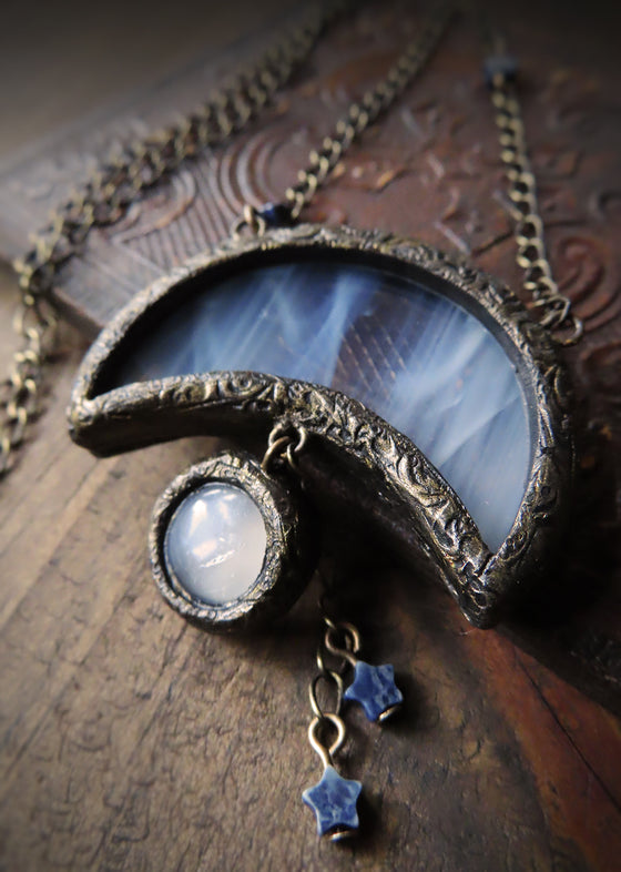 Ring Around the Moon ~ Stained Glass & Moonstone Amulet