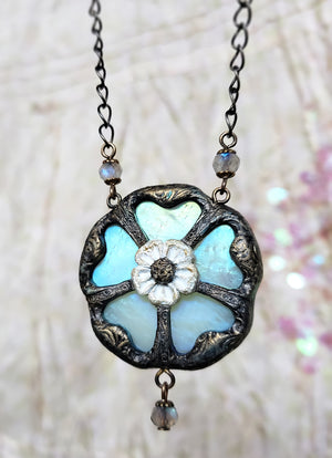 Rosa Mystica ~ Iridescent Stained Glass Amulet
