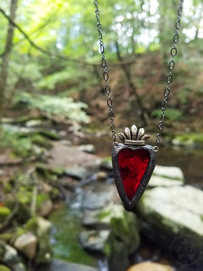 Sacred Heart of Heloïse ~ Stained Glass Amulet