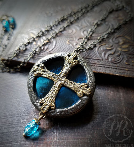 Medieval Crosslet ~ Textured Aqua Stained Glass Amulet