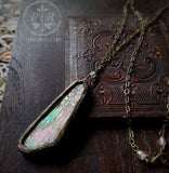 Etched Wing ~ Iridescent Stained Glass Amulet