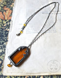 Hestia's Golden Fire ~ Stained Glass Window Amulet