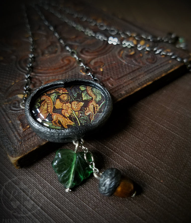 Squirrel Tapestry Acorn Pictorial Shrine Amulet