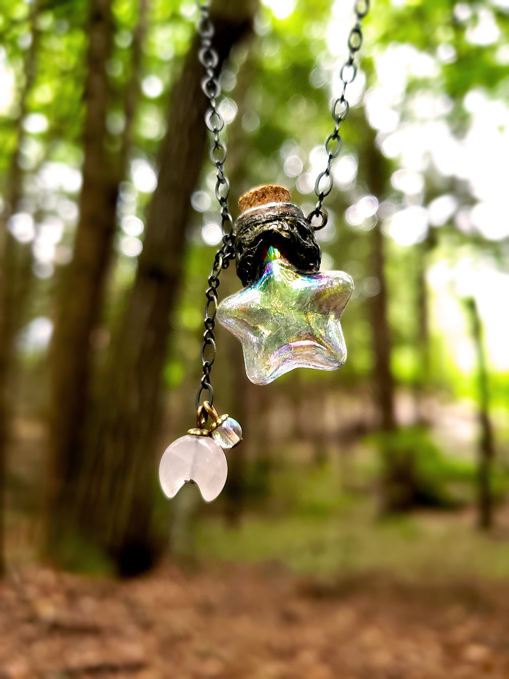 Wish Upon a Star ~ Iridescent Glass Vessel Amulet with Rose Quartz Crescent Moon