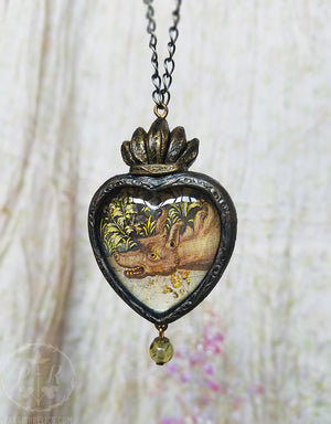 Tapestry Wolf ~ Sacred Heart Pictorial Shrine Amulet