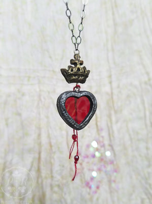 The Heart's Purpose ~ Crowned Stained Glass Amulet
