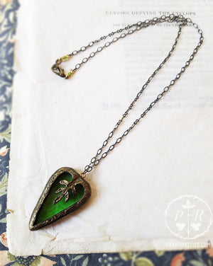 Medieval Leaf Heart ~ Stained Glass Amulet