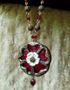 Etched Stained Glass Tudor Rose Amulet Necklace