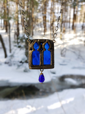 Remain In Light ~ Twin Gothic Window Stained Glass Amulet