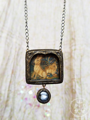 Embroidered Hares ~ Pictorial Shrine Amulet