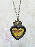 Victorian Moth Sacred Heart Pictorial Shrine Amulet