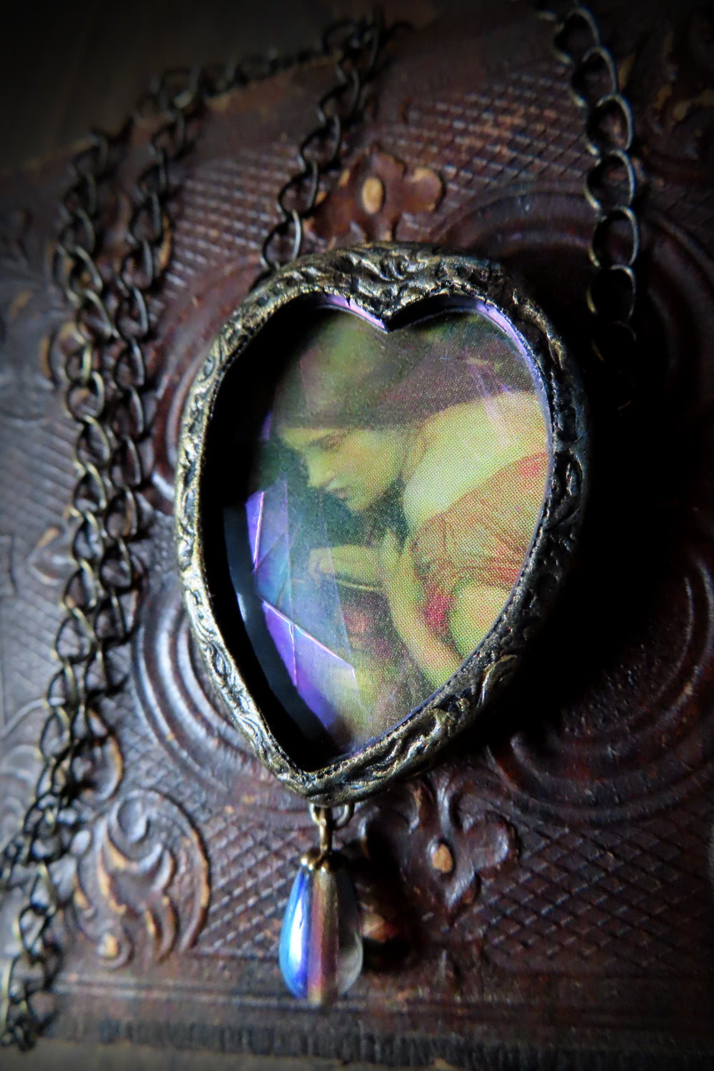 Waterhouse Nymph ~ Iridescent Stained Glass Heart Pictotrial Shrine Amulet
