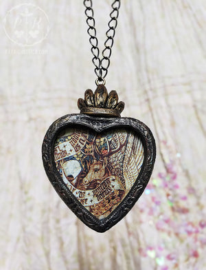 The Winged Stag ~ Medieval Tapestry Sacred Heart Pictorial Shrine Amulet