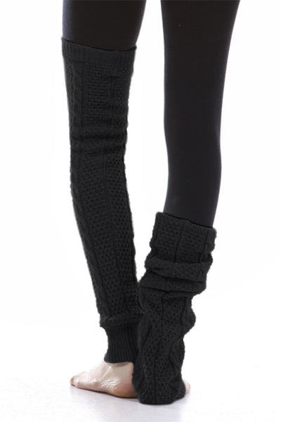 M Rena Black Cable Knit Leg Warmers