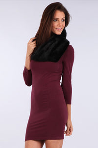 M Rena Black Faux Fur Collar Scarf