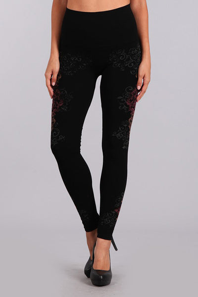 Tummy Tuck Legging with Wall Scroll Print