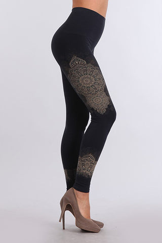 M Rena Ink Mandala Print Tummy Tuck Leggings