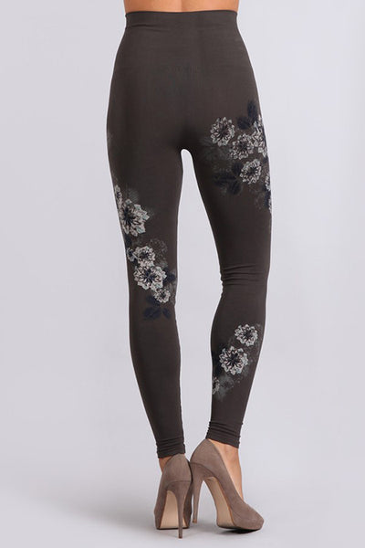 Back of the Dark Grey Falling Floral Tummy Tuck Leggings