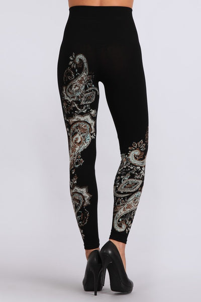 Paisley Print Tummy Tuck Leggings