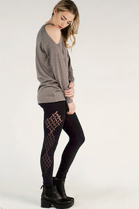M. Rena High Waist Legging w/ Crosshatch Burnout