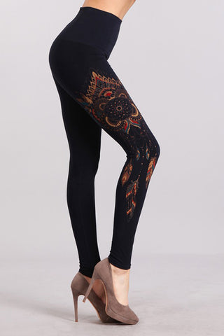 Tummy Tuck Leggings with Dreamcatcher Print