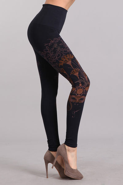 M Rena Ink Masquerade Print Tummy Tuck Leggings